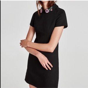 Zara Black Jeweled Collar Dress
